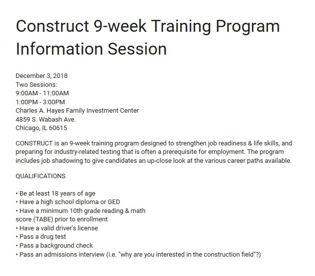 Construct Nine Week Program